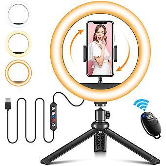 HanFei 10 Zoll Ringlicht mit Stativ & Handyhalterung, Dimmbare Ringleuchte mit Bluetooth
