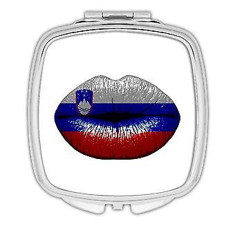 Gift Compact Mirror: Lips Slovenian Flag Slovenia