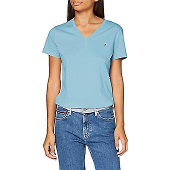 טומי הילפיגר חולצת טי עם צווארון V, קולומביה כחולה, XXS אישה