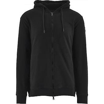 Paul & Shark Black Heritage Logo Fleece Zip Sweater