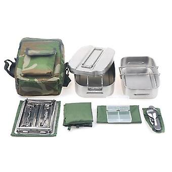 Military Canteen Cookware Set Camping Canteen Mess Kit Stainless Steel Canteen with Mess Tin Lid Stove Spoon Fork Molle Pouch
