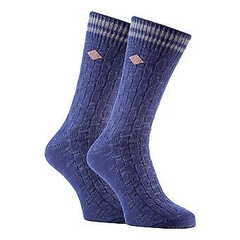 2 Pk mens cotton chunky knitted formal socks