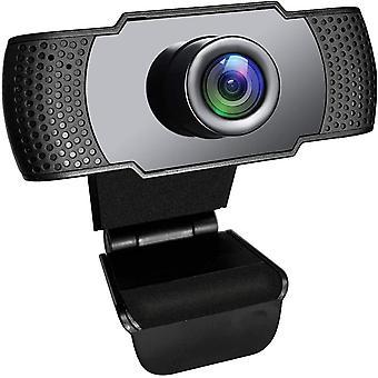 1080p HD USB Mikrofon Webcam für Laptop und PC mit rotierendem Clip für Windows, Videoanruf, Aufnahme, Konferenz, Spiele, Live Chat, Online Classroom(Schwarz)