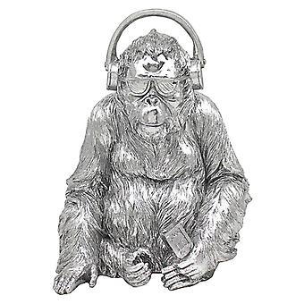 Large Silver Art Gorilla with Headphones Ornament