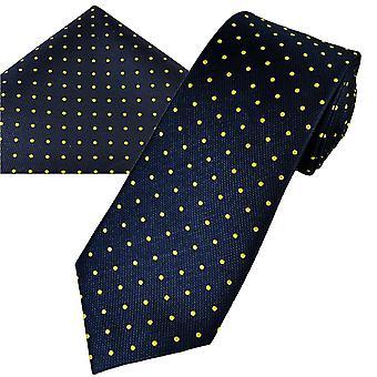Ties Planet Gold Label Navy Sininen & Keltainen Polka Piste Silkki Miesten solmio & tasku neliö nenäliina set