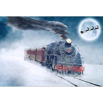 عيد ميلاد سعيد التصوير الخلفية الشتاء قطار ليلة القمر ندفة الثلج الأطفال صورة خلفية photocall لاستوديو الصورة