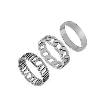 3pcs Ring Set Titan Stahl Ring Punk hohle Frau Ring
