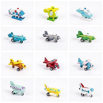 12Pcs 6cm voiture à vent en bois mini modèle de voiture avion jouets cognitifs pour enfants