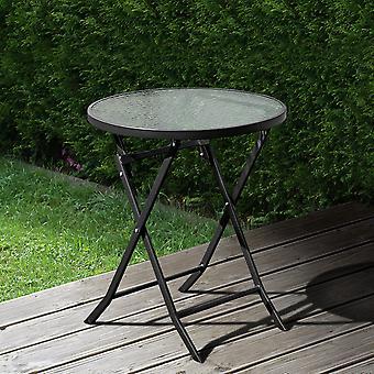 Table pliable ronde en métal extérieur - Noir
