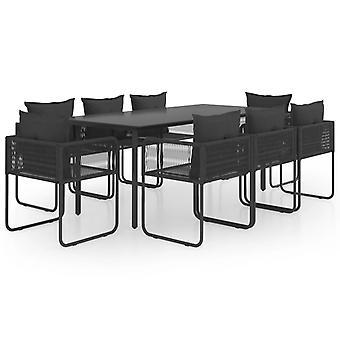 vidaXL 9-pcs. Garden Dining Group PVC Rattan Black