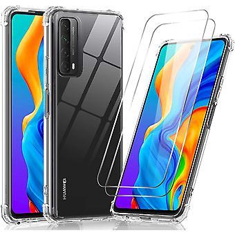 Hülle für Huawei P Smart 2021 Mit [2 Stück] Panzerglas,Durchsichtig Stoßfest Handyhülle Transparent