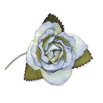 SISTE FÅ - 12 lyseblå 45mm papir roseblomster