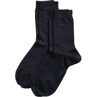 Esprit base Fine Knit metà polpaccio 2 Pack Socks - Marina militare