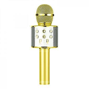 Wireless Karaoke Microphone, Portable Bluetooth Speaker(Golden)