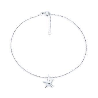 Nautical Starfish Beach Marine Life Charm Cavigliera per donna Link Braccialetto caviglia per donna .925 Sterling Silver Regolabile da 9 a 10 pollici con extender