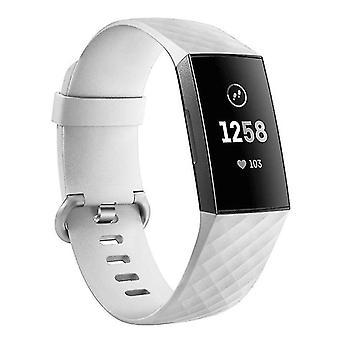 Pulsera de silicona compatible con Fitbit Charge 3 (Blanco)