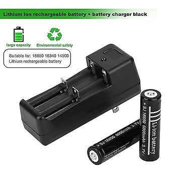 2 stuks 18650 6000mah 3.7v Li-ion oplaadbare batterijen + batterijlader zwart