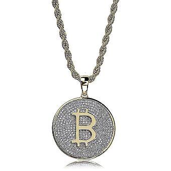 Collar colgante Bitcoin collar micro inlaid zircón hip hop collar