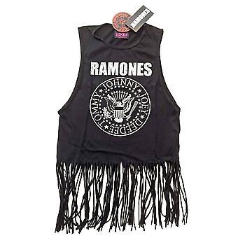 Жилета Ramones президентская печать логотипа Официальный женские новые черный верх с кистями