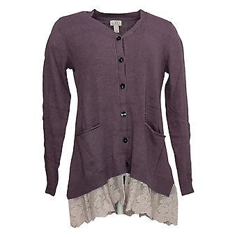 LOGO By Lori Goldstein Women's Sweater Knit Cardigan Lace Purple A285345