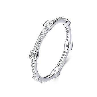 Square Geometric Stackable Finger Rings for Women Clear Silver plating Jewelry_8