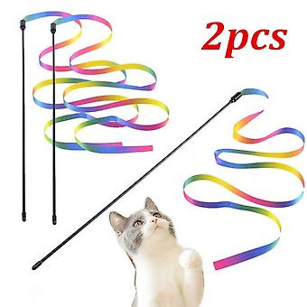 2pcs Cat Sticks Double-sided Colorful Rainbow Ribbon Funny Cat Stick Toys For Pet Cat Interactive Stick Teaser Toys Supplies