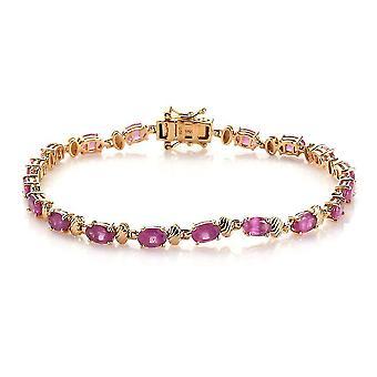Roze Ruby Tennis Armband Verguld Zilveren Cadeau Vrouw / Vriendin / Moeder 7.5 & apos;>