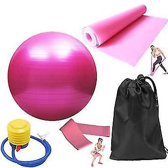5pcs/set training fitness yoga bal elastische band (Roze)