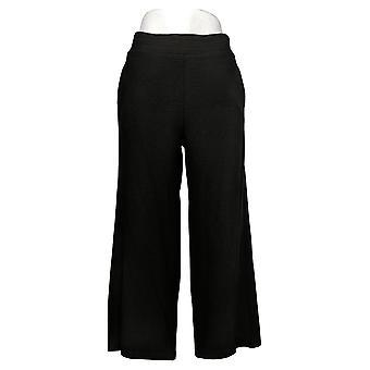 DG2 by Diane Gilman Women's Pants Textured Knit Cropped Black 686510
