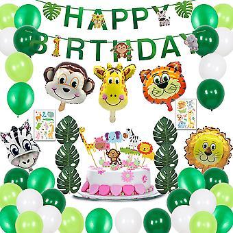 الأطفال عيد ميلاد الزينة تعيين الغابة موضوع الحزب لوازم بالونات الحيوان عيد ميلاد راية كيت