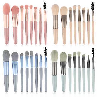 Mini 8 Makeup Brush Set Eyeshadow Eyelash Brush Blush Powder Makeup Brush Beauty Tool(pink)