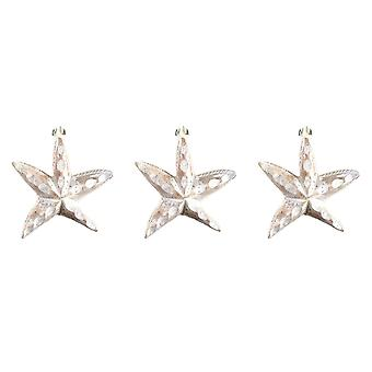 Carved Wooden Whitewashed Coastal Starfish Ornaments Set of 3