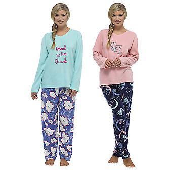 السيدات توم فرانكس زين ومجموعة ملابس النوم بيجاما الصوف الدافئة الطويلة المطبوعة