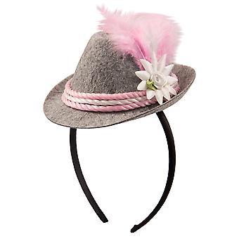 Oktoberfesthut Damen rosa Mini Hut Haarreif Tiara Oktoberfest Seppl Hut