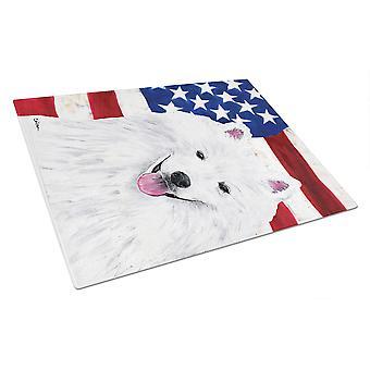 USA amerikanska flaggan med American Eskimo glas skärbräda stor
