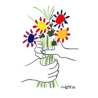 Hand mit Bouquet Poster Print von Pablo Picasso (26 x 40)
