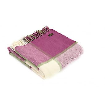 Tweedmill Pure New Wool Block Check Throw - Raspberry