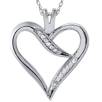 Diamond Heart Shape Pendant 10K White Gold