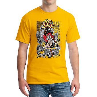 Red Sonja Cover Battle Men's Gold T-shirt