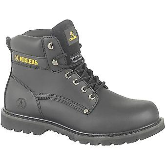 Amblers Mens Banbury Lace Up Leather Fabric Lined Casual Boot Black
