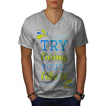 Living Like Joke Funy Men GreyV-Neck T-shirt | Wellcoda