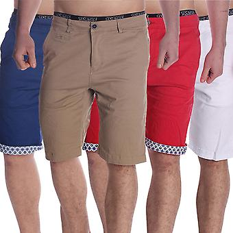 Men Chino Shorts Bermudas folded-over print hem short chinos stretch