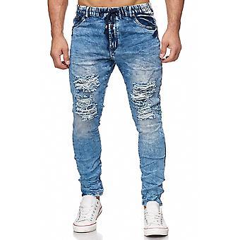 Men's Jogging Denim Destroyed Denim Pants Harem Bleached Ripped Used Jeansjogger