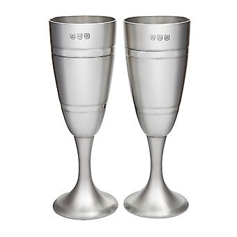 Pair Of Grooved Pewter Celebration Flutes