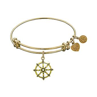 Smooth Finish Brass Wheel Of Dharma Angelica Bangle Bracelet, 7.25