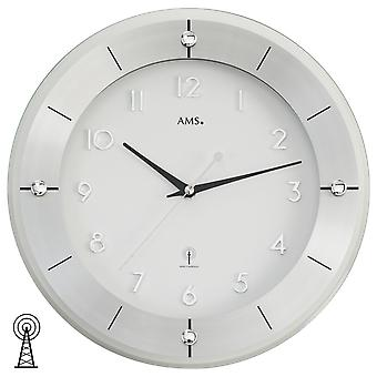 Watch wall clock radio clock radio controlled wall clock aluminium glass 31 cm Ø AMS