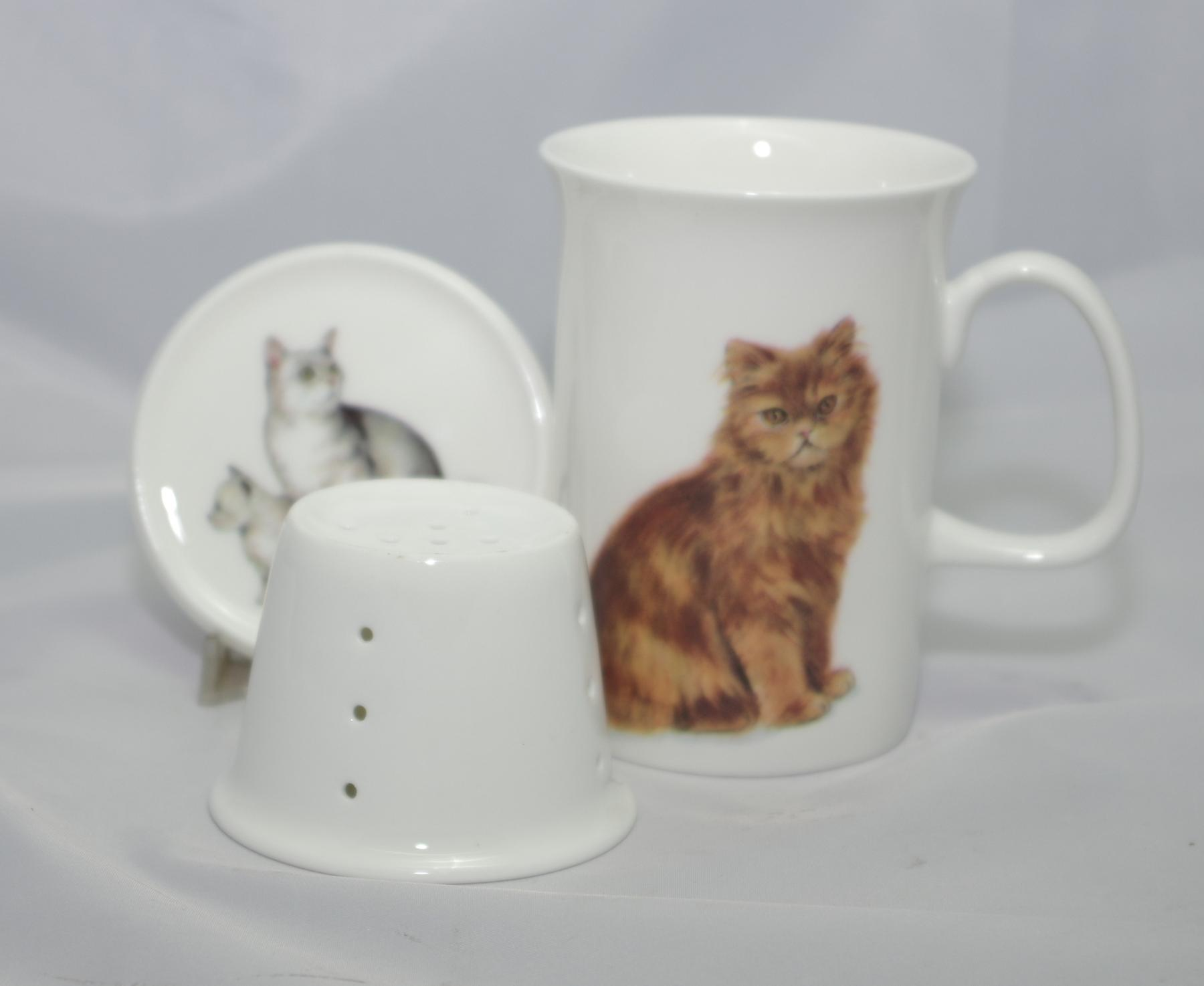 English Bone China Mug, Lid and Infuser Cats
