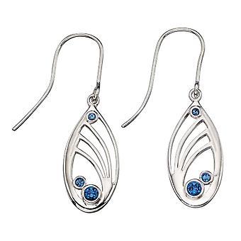 Elementen zilveren saffier Swarovski Crystal uitgesneden Drop Oorbellen - zilver/blauw
