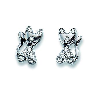Oliver Weber Post Earring Cat Rhodium Crystal