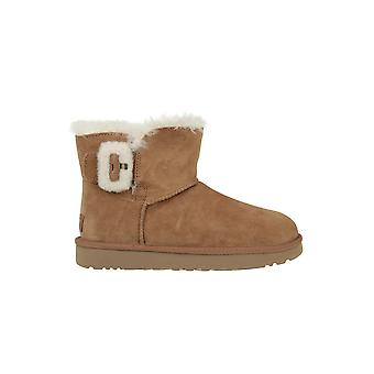 Calçados femininos inverno universal UGG Mini Bailey Fluff fivela de 1104182CHE